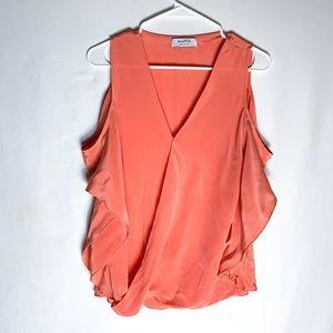 Bailey 44 Coral Silk Cutout Sleeve Blouse